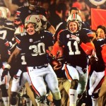 Recruits can pose as Chris Davis in giant Iron Bowl cut out placed in Auburn's locker room for Big Cat Weekend