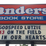 Anders Bookstore pays tribute to Philip Lutzenkirchen on marquee