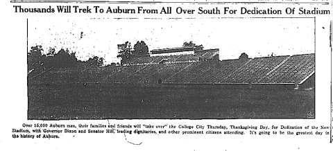 "In 1989, former Auburn Athletic Director Jeff Beard said he was positive there were only 7,290 people at the first game because ""that's how many tickets we had printed"". That's how many RESERVED tickets they had printed. He forgot about the special, extra-expensive, Buy If You Love Auburn souvenir tickets for seats between the 40-yard lines, and the 5,000 general admission tickets that went on sale the Monday before the game."