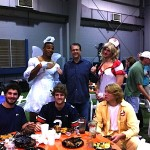 Gus Malzahn with Cam Newton and Clint Moseley at the 2010 Auburn football team Halloween party
