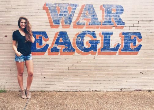 "On her way to Baton Rouge to compete in the Miss USA pageant, Brooke Fletcher, Miss Georgia USA, stopped in Auburn. ""I made my mom do a detour and drive through campus,"" Fletcher says. ""Auburn holds a special place in my heart."""