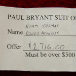 Two Auburn fans bought a 1972 Bear Bryant suit for $1,716