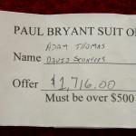 Two Auburn fans bought a 1972 Bear Bryant suit for $1,716