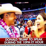 Former Miss Alabama turned Trump Train conductor Catherine Crosby Long sounds 'War Eagle' whistle during primetime RNC coverage