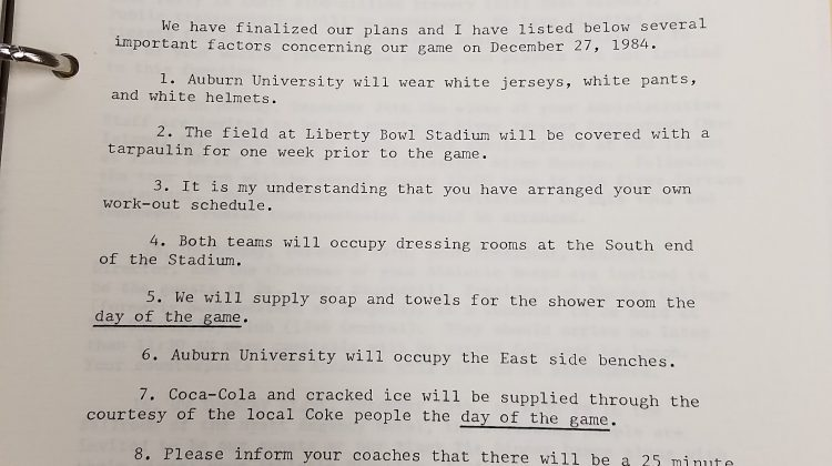Check out the 'important factors' pertaining to festivities for the 1984 Liberty Bowl between Auburn and Arkansas