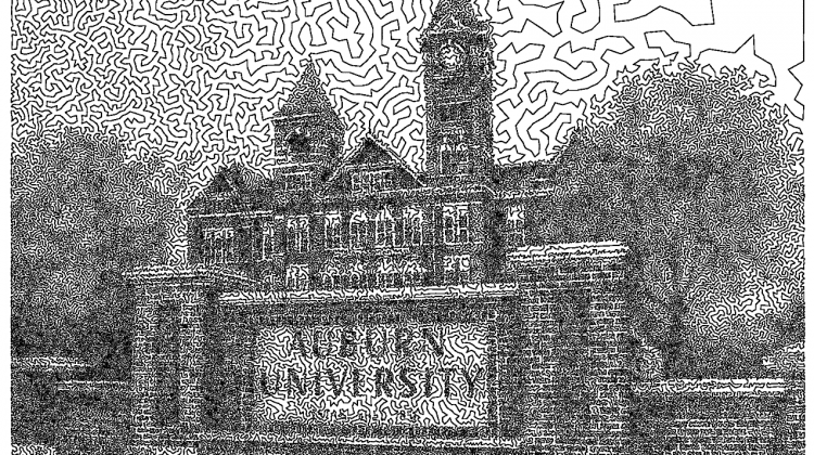 Here's a crazy picture of Samford Hall drawn in a single line
